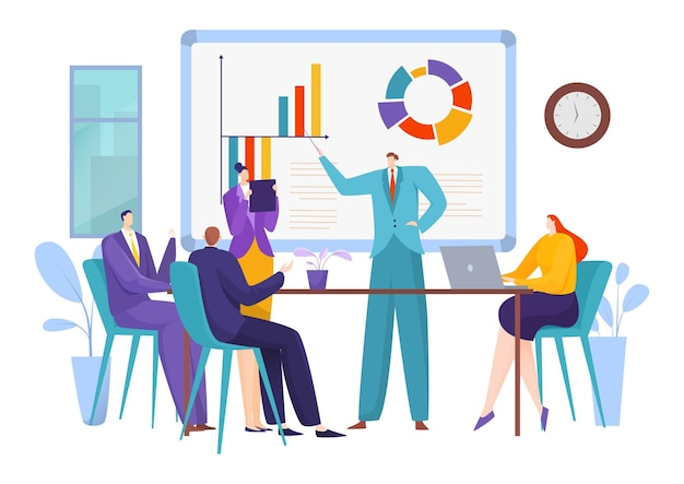 Business meeting, people teamwork in office illustration