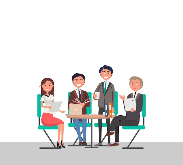 Business meeting poster people sitting at table