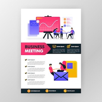 Business meeting poster with flat cartoon illustration. flayer business pamphlet brochure