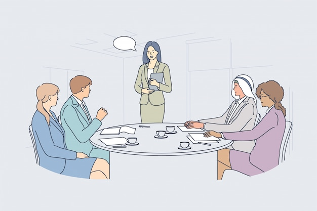 Business meeting presentation seminar teamwork communication concept