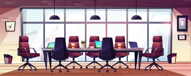 Business meeting room, company boardroom interior cartoon