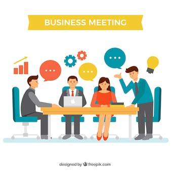 Business meeting scene with elements