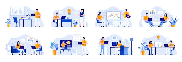 Business meeting scenes bundle with people characters. manager making presentation, teamwork of colleagues in company situations. corporate partnership and leadership flat illustration
