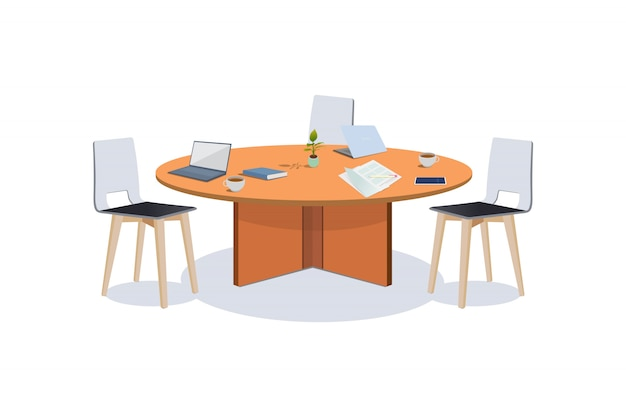 Business meeting table illustration