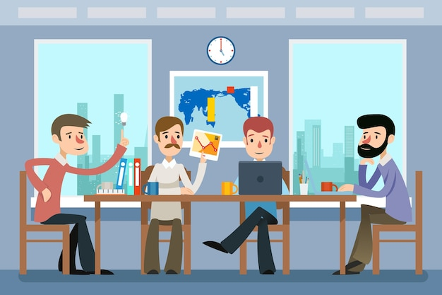 Incontro d'affari. team che lavora in ufficio. gruppo di lavoro, lavoro di squadra, idea e posto di lavoro aziendale. riunione d'affari e illustrazione di vettore di lavoro di squadra in stile piano