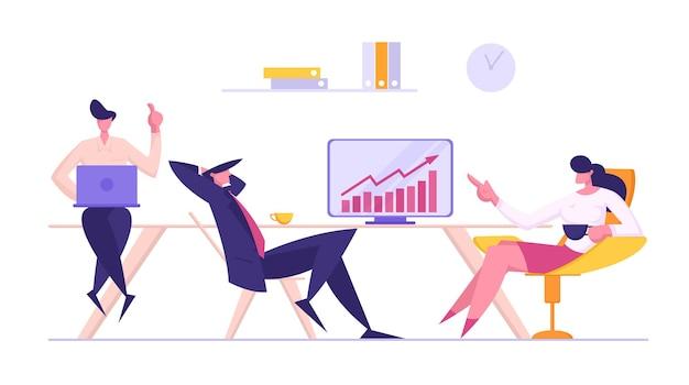 비즈니스 회의 팀워크 개념 그림