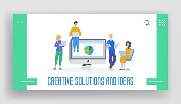 비즈니스 회의 팀워크 개념 방문 페이지 템플릿입니다. 사업가 및 여성 캐릭터, 브레인 스토밍을 의사 소통하는 동료