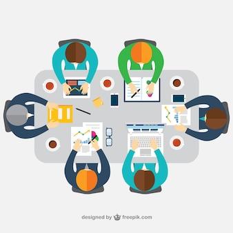 Business meeting in top view Premium Vector