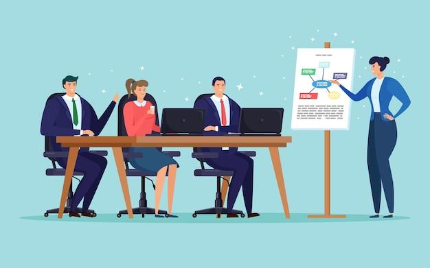 비즈니스 회의, 직원 교육. 학습 과정 발표. 회의실 테이블에 앉아 사람들의 그룹