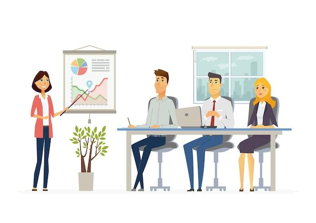Деловая встреча - векторная иллюстрация офисной ситуации. мультяшные люди, персонажи юношей, женщины за работой. коллега-женщина делает презентацию, показывает диаграммы, отчеты, тренирует персонал