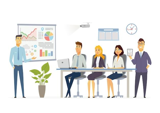 Деловая встреча - векторная иллюстрация офисной ситуации. мультяшные люди, персонажи юношей, женщины за работой. коллега-мужчина делает презентацию, показывает диаграммы, отчеты, тренирует персонал