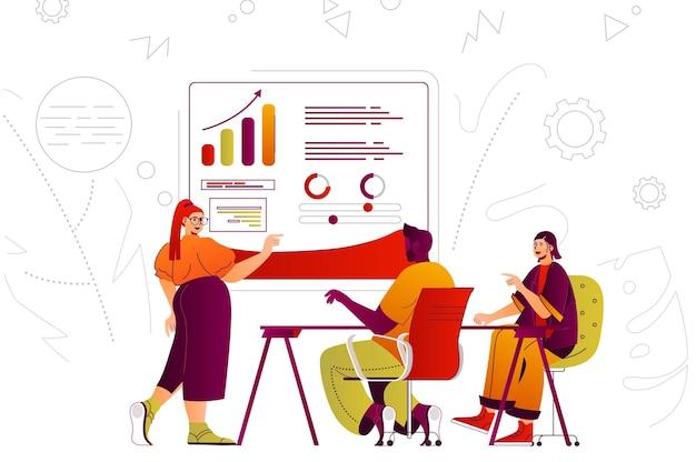 会議で作業タスクを議論するビジネス会議のwebコンセプトの同僚