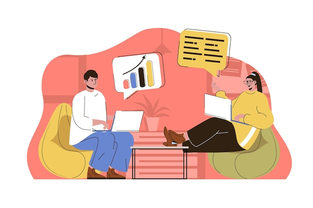Business meeting web concept illustration with flat people character