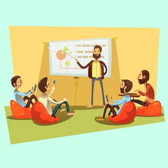 Business meeting with people and presentation on blue background cartoon