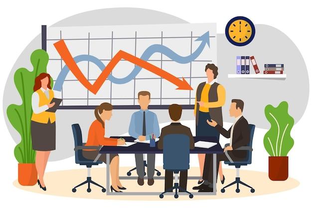 チームベクトルイラストフラットグループ男性女性キャラクターとのビジネス会議は、オフィスのチームワークに座っています。
