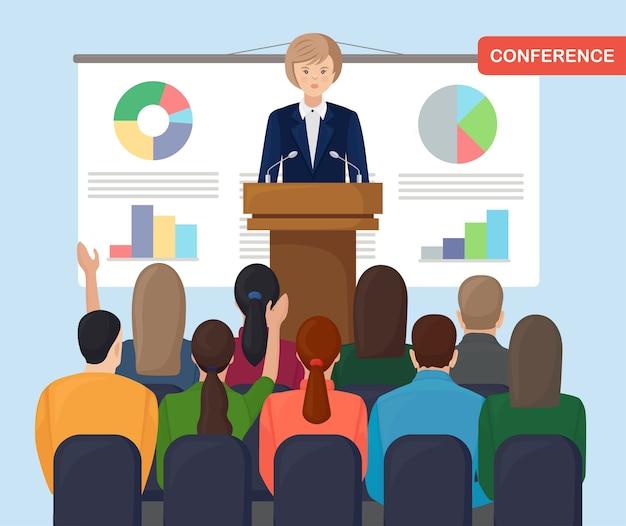 ビジネスミーティング。女性が話し、プロジェクトを提示します。ワークショップ、トレーニング、セミナーに関する会議ホールの人々