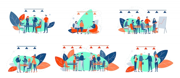 Business meetings, collaboration, teamwork, partnership set concept