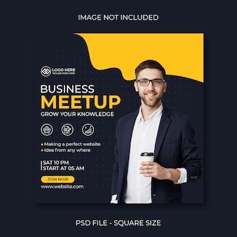 Business meetup design for social media