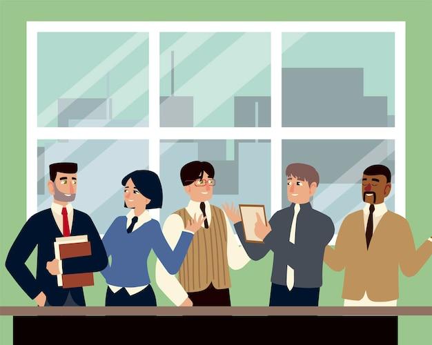회의 팀워크 그림을 논의하는 사무실에서 비즈니스 남성과 여성
