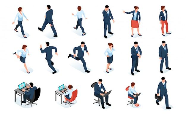 ビジネスの男性と女性のビジネススーツと分離されたさまざまなポーズの男性と女性のキャラクターの等尺性セット