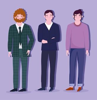 漫画のキャラクターを立っているビジネス男性の従業員