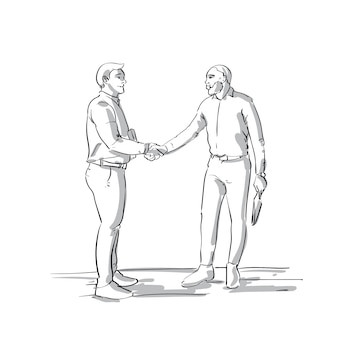 Business men hand shake two sketch businessmen shaking hands over white background agreement deal concept