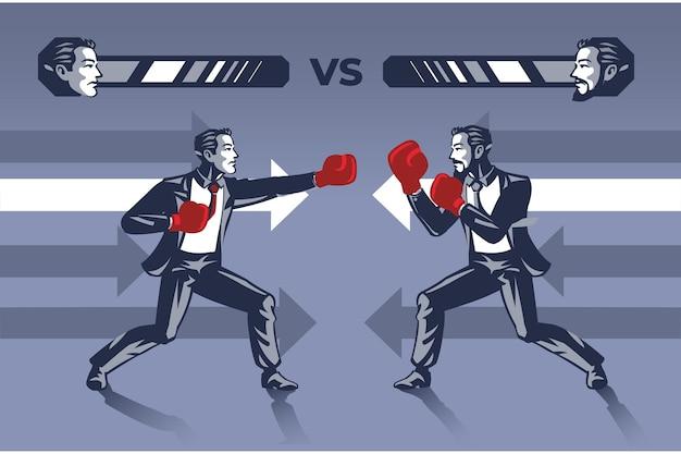 권투 경기에서 사업가는 서로를 두드리기 위해