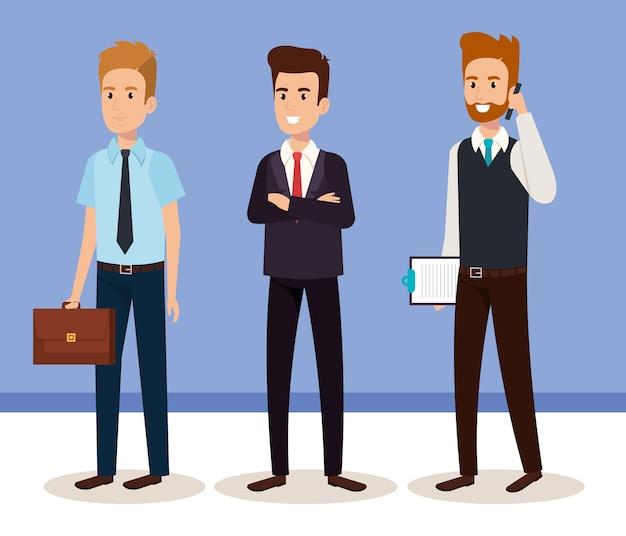 Business men isometric avatars vector illustration design