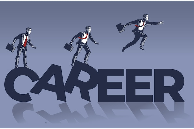 Business men jump over career alphabets blue collar illustration concept