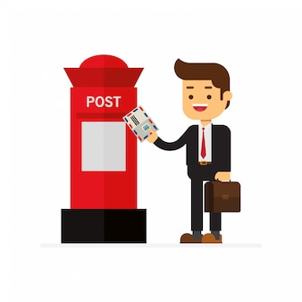 Business men send letters to the red mailbox