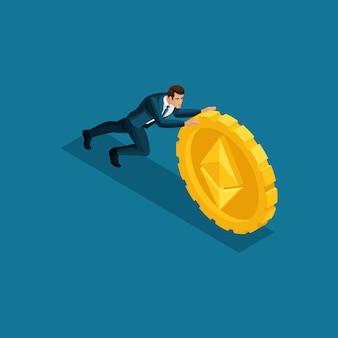 ビジネスの男性、スーパーヒーローは、イーサリアムicoブロックチェーン暗号通貨マイニング、スタートアッププロジェクトの隔離された図の大きなコインをプッシュします。