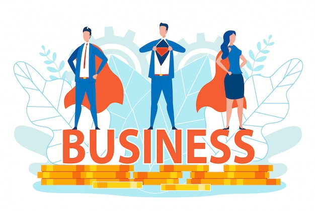 Business men and woman in super hero costumes.