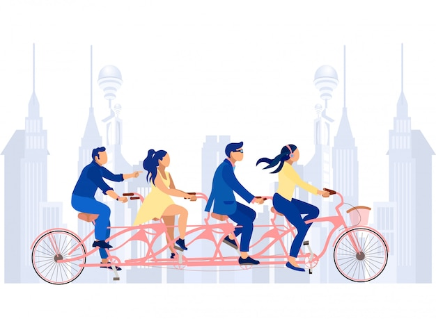 Business men and women on tandem bicycle on street