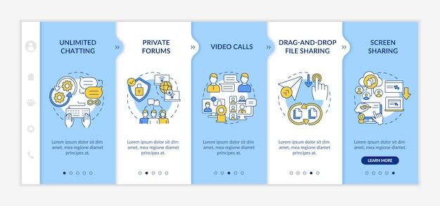 Шаблон вектора адаптации службы обмена сообщениями. адаптивный мобильный сайт с иконками. веб-страница прохождение 5 экранов шагов. коммуникационная цветовая концепция с линейными иллюстрациями