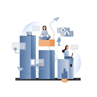 웹 배너, 웹 사이트 페이지에 대한 비즈니스 은유 적 인 벡터 개념