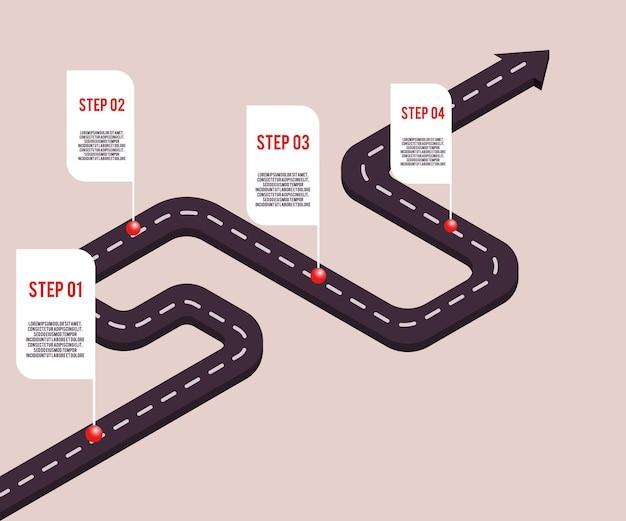 Концепция вехи бизнеса с точками и шагами с пространственным текстом на дорожном маршруте. хронология компании, шаблон презентации инфографики. корпоративная стратегия, технологический процесс.
