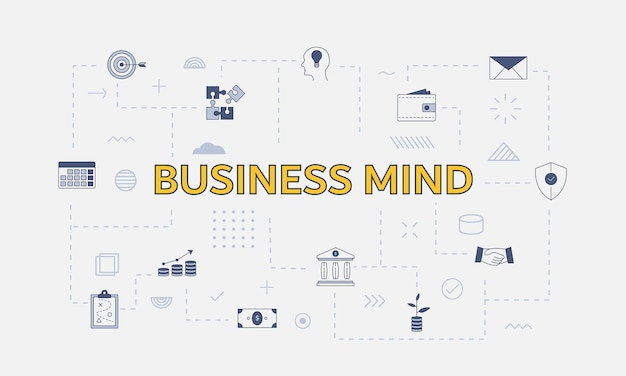 Концепция бизнес-ума с набором иконок с большим словом или текстом в центре