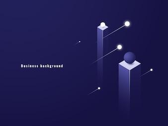 Business minimalism concept, data flow, futuristic illustration, columns