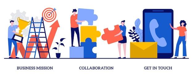 ビジネスの使命、コラボレーション、小さな人々との接触の概念。会社の発展の方向性、チームビルディングの演習、コーポレートコミュニケーションのセット。
