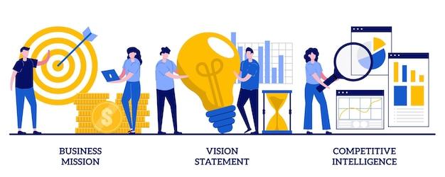 비즈니스 사명, 비전 선언문, 경쟁 정보. 전략적 사업 계획 세트 프리미엄 벡터