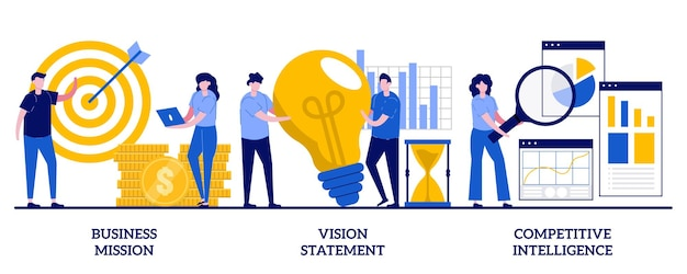 Business mission, vision statement, competitive intelligence. set of strategic business planning