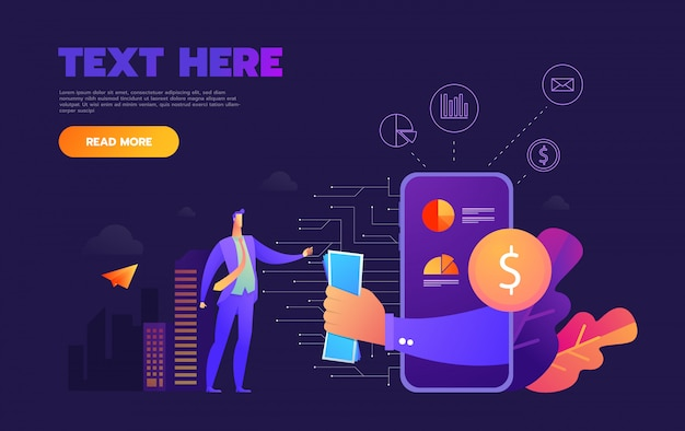 Business mobile application  isometric illustrations on purple background