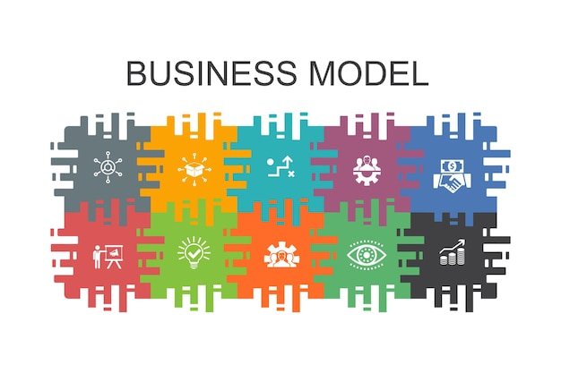 Business model cartoon template with flat elements. contains such icons as strategy, teamwork, marketing, solution