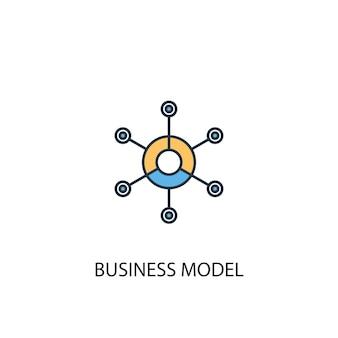 Концепция бизнес-модели 2 цветной значок линии. простой желтый и синий элемент иллюстрации. бизнес-модель концепция наброски символ дизайн