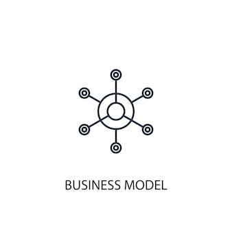 Значок линии концепции бизнес-модели. простая иллюстрация элемента. бизнес-модель концепции наброски символ дизайн. может использоваться для веб- и мобильных ui / ux