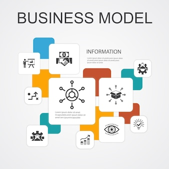 Business model infographic 10 line icons template.strategy, teamwork, marketing, solution simple icons