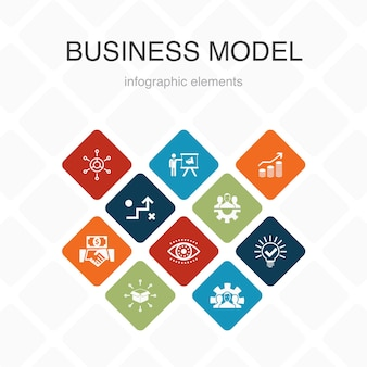 Business model infographic 10 option color design.strategy, teamwork, marketing, solution simple icons