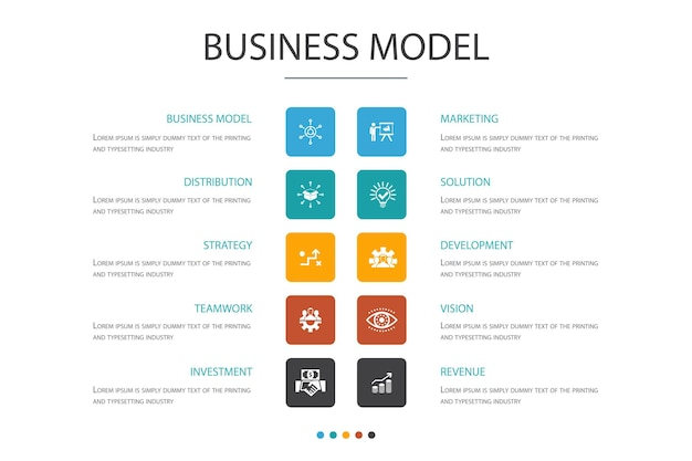 Business model infographic 10 option concept.strategy, teamwork, marketing, solution simple icons