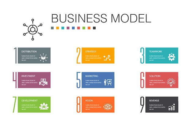 Business model infographic 10 option line concept.strategy, teamwork, marketing, solution simple icons