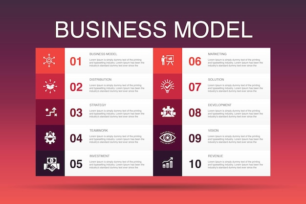 Business model infographic 10 option template.strategy, teamwork, marketing, solution simple icons